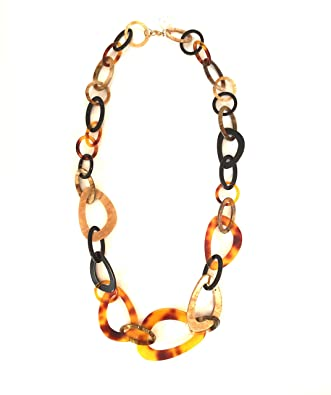 Amazoncom HWK Designs 42 Neutral Resin Chain Link Necklace