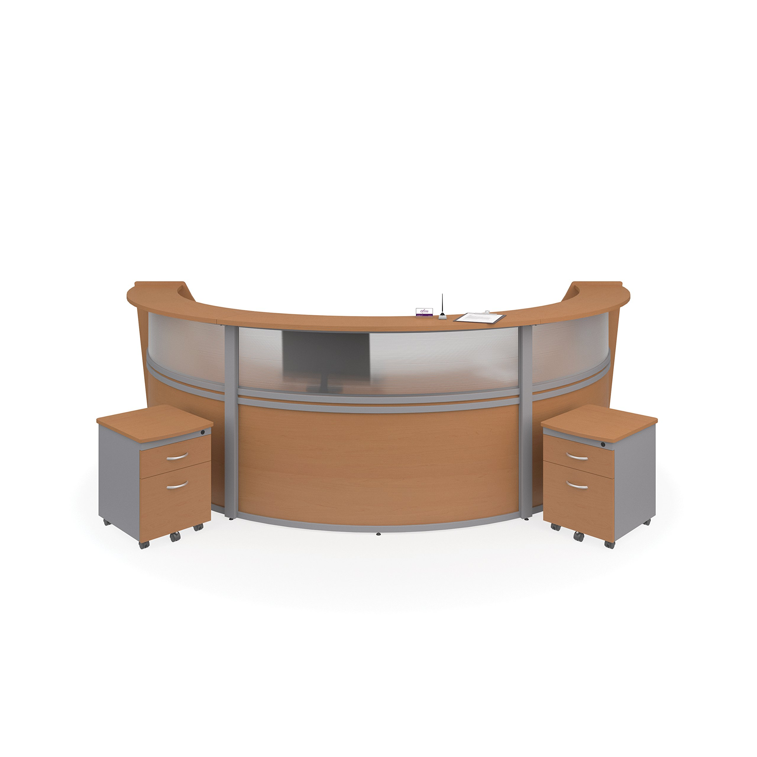 OFM Marque Plexi 4-Unit Reception Station - Office Furniture Receptionist/Secretary Desk with Two Maple Pedestals (PKG-55314-MPL) by OFM