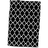 3dRose Florene - Small Patterns - Image of Black And White Quatrefoil Pattern - 15x22 Hand Towel (twl_233696_1)