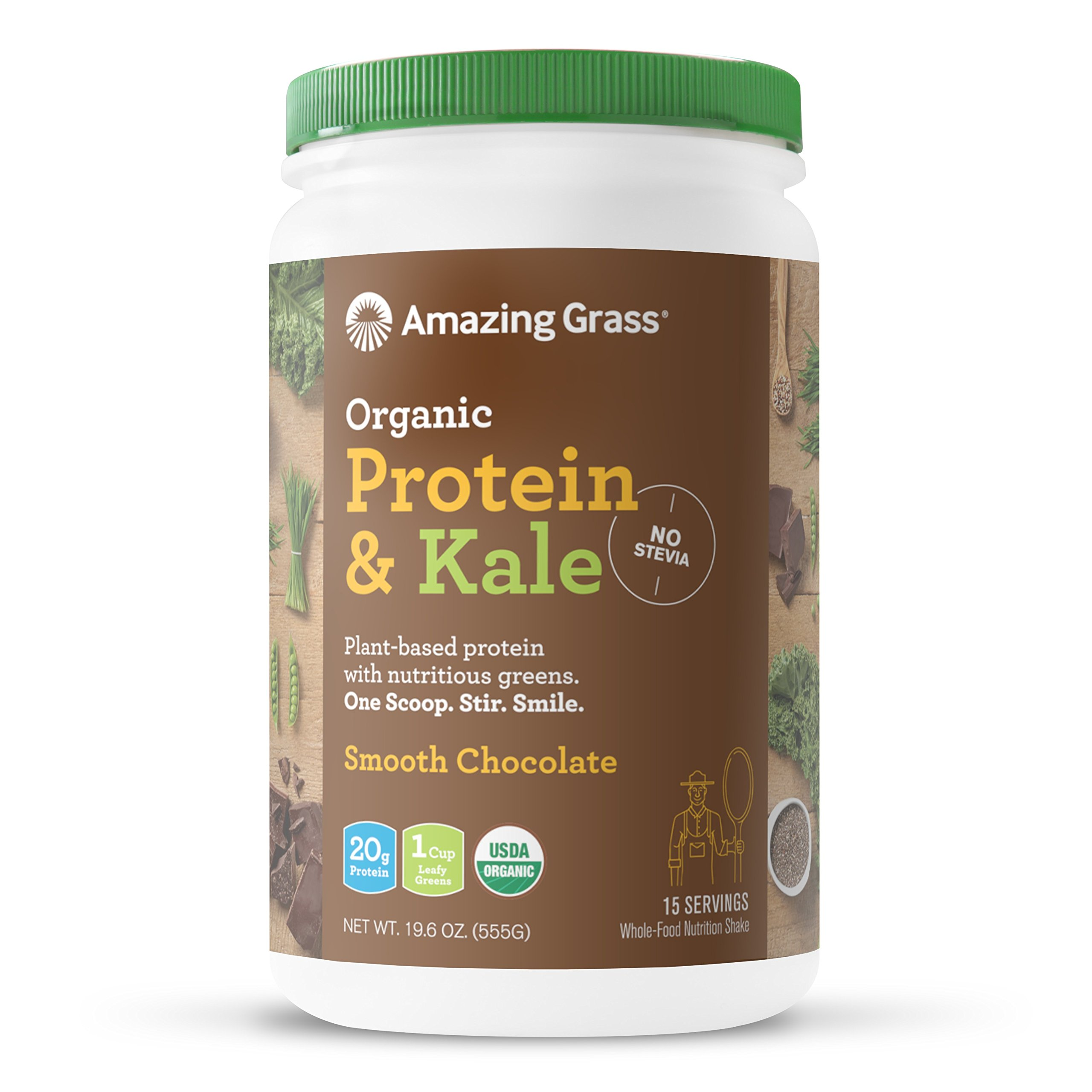 Amazing Grass Organic Vegan Protein & Kale Powder: 20g of Plant Based Protein per serve plus 1 cup of Greens, Chocolate Flavor, 15 Servings by Amazing Grass