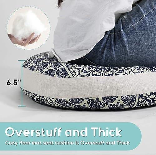 Tiita Mandala Round Hippie Floor Pillow Cushion Artisan Room D cor for Your Living Room Bedroom, Navy Blue Plaid
