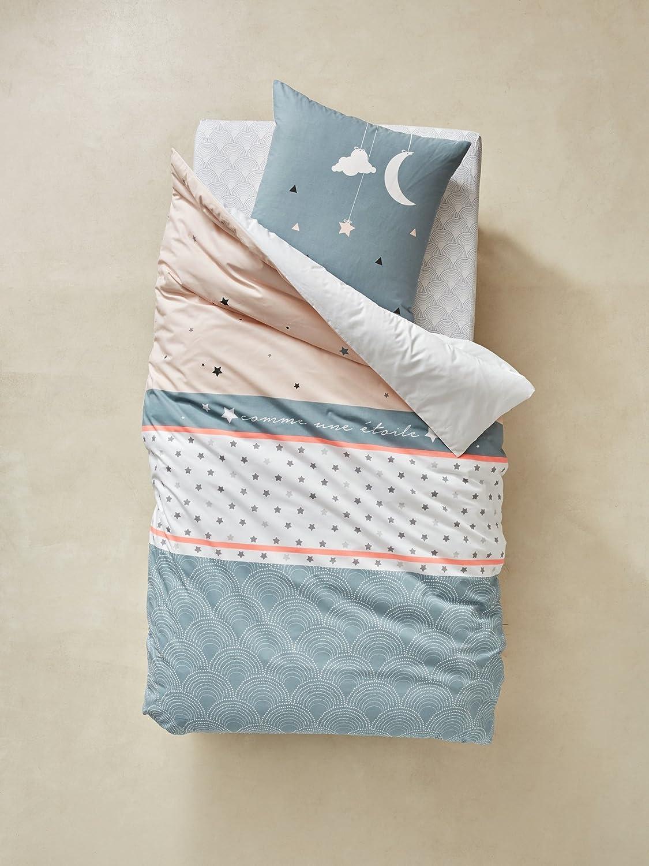 VERTBAUDET Bettwäsche-Set für Kinder'Sternennacht' weiß bedruckt 140X150 - KISSEN 63X63