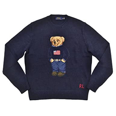 Polo Ralph Lauren Men\u0027s Polo Bear Cable Knit Sweater (S, Navy)