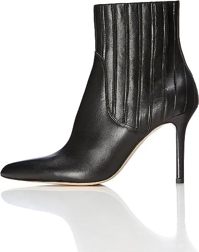 Buffalo Damen modische Stiefelette Ankle Boots Absatzstiefelette Schuhe schwarz