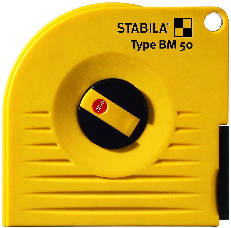STABILA Kapselbandma/ß BM 50 W Nagel/öse Universalhacken anschlagf/ähiges Geh/äuse 20 m //// Eigenschaften: Stahlband