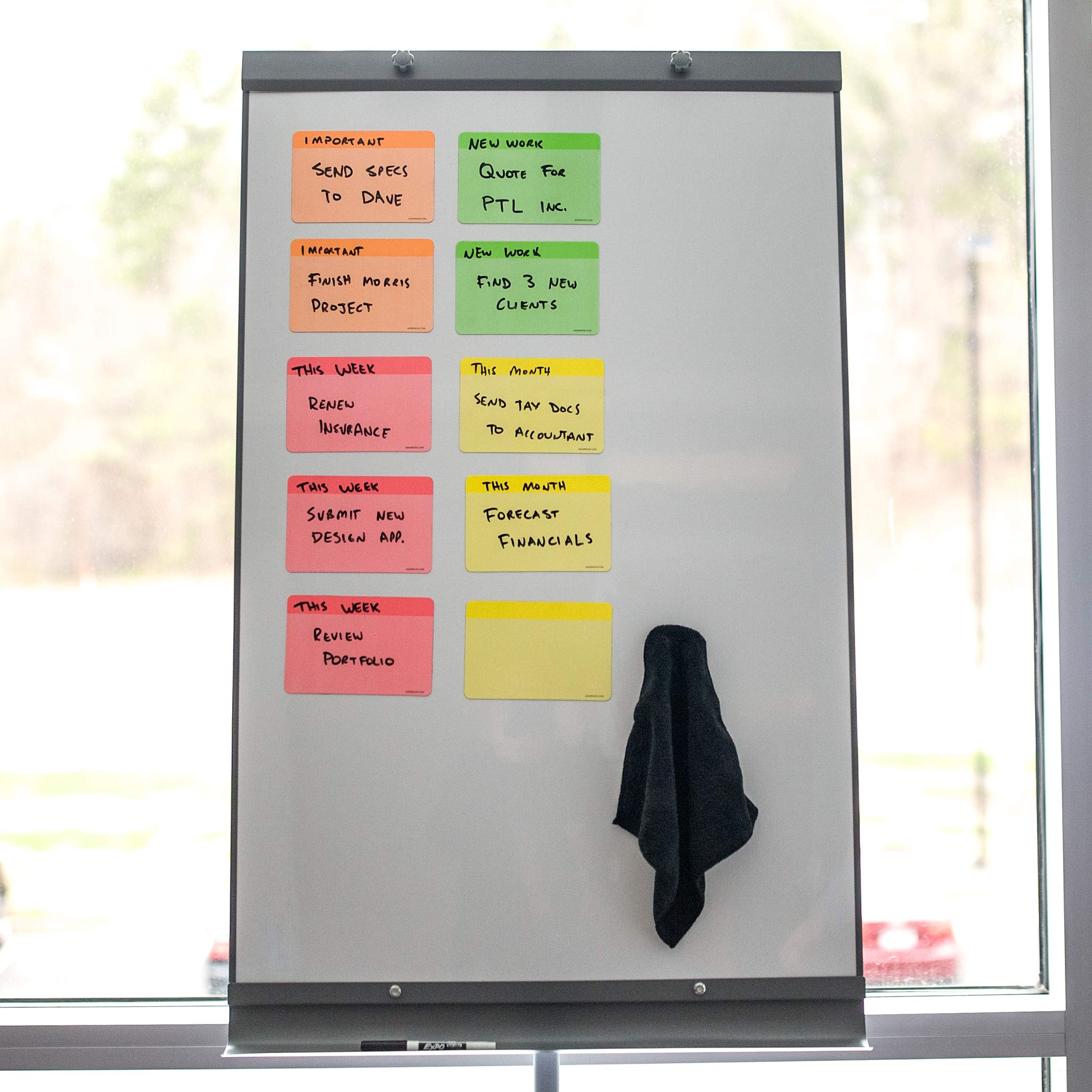 Neon Dry Erase Whiteboard Magnets by AgilePacks | 4'' x 6'' Reusable Magnets Plus Magnetic Microfiber Eraser Cloth by AgilePacks (Image #3)