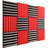 """Pro Studio Acoustics - 12""""x12""""x2"""" Acoustic Wedge Foam Absorption Soundproofing Tiles - Red/Charcoal - 12 Pack"""