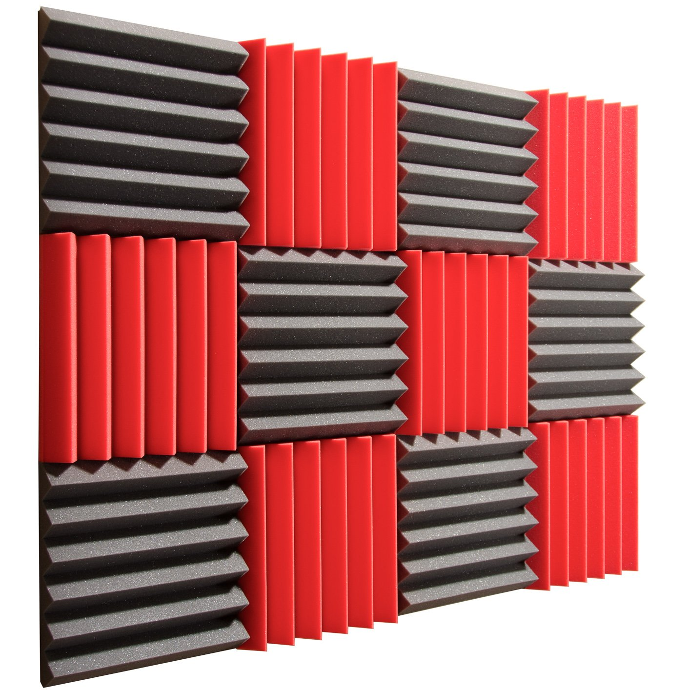 Pro Studio Acoustics - 12''x12''x2'' Acoustic Wedge Foam Absorption Soundproofing Tiles - Red/Charcoal - 12 Pack