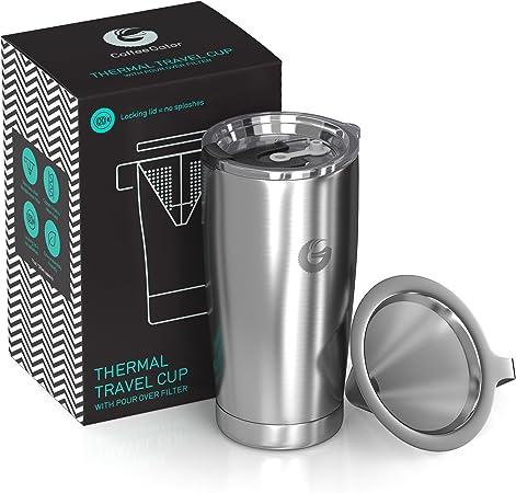 Cafetera para hacer café – todo en uno – Calentador de viaje sin papel – 35 ml – Taza térmica de vacío con filtro de micro malla: Amazon.es: Hogar