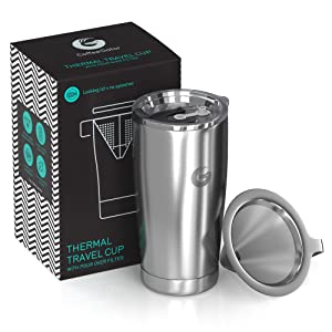Coffee Gator Pour Over Brewer Mug - All-in-One Thermal Travel Cup and Hand Drip Coffee Maker - Vacuum Insulated Stainless Steel with Paperless Filter - 20 Ounce - Silver