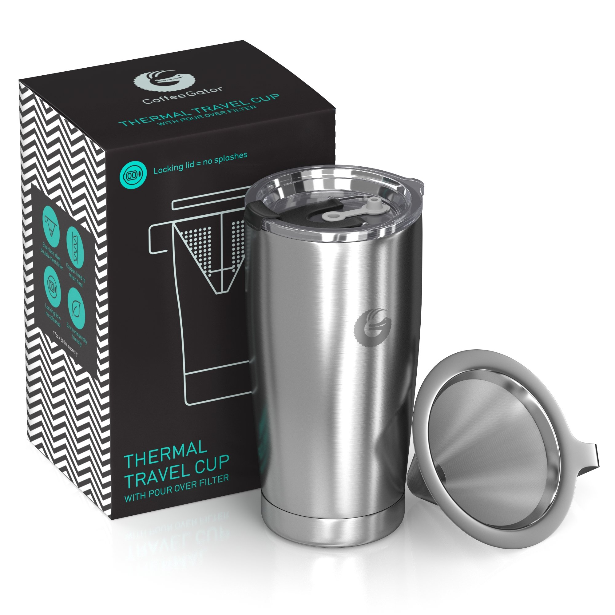 Coffee Gator Pour Over Coffee Maker - All in One Thermal Travel Mug and Brewer - Vacuum Insulated Stainless Steel - 20 ounce - Silver