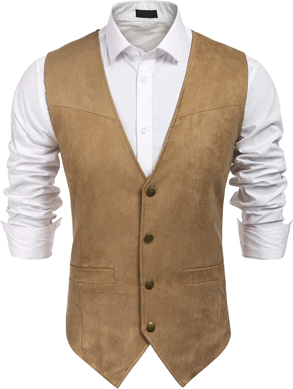 JINIDU Men's Casual Suede Leather Vest Jacket Slim Fit Dress Vest Waistcoat