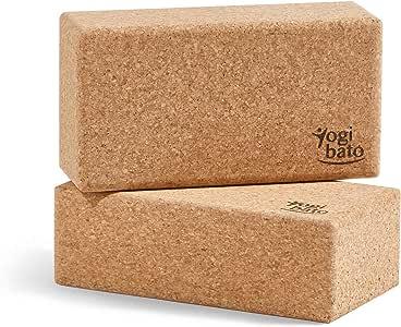 Yogibato Bloque de Yoga de Corcho – Antideslizante y de Agarre fácil │ 1pc o Set de 2pcs │ Block de Corcho Natural para Pilates y Ejercicios Fitness – Bloque Hecho de Corcho 100% Natural