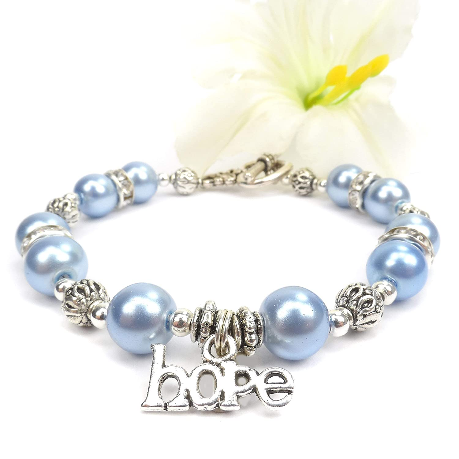 Amazon Com Light Blue Hope Ribbon Awareness Bracelet Prostate