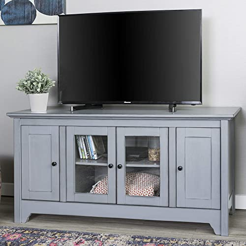 Walker Edison Furniture Company Wood Universal Stand with Storage Cabinets for TV s up to 58 Flat Screen Living Room Entertainment Center, 52 inch, Grey