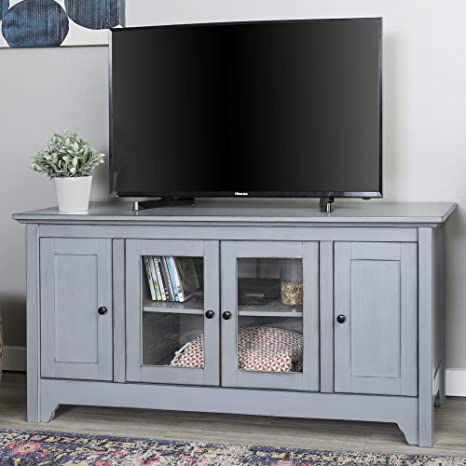 Walker Edison Wood Universal Stand With Storage Cabinets For Tv S Up To 58 Flat Screen Living Room Entertainment Center 52 Inch Antique Grey Furniture Decor