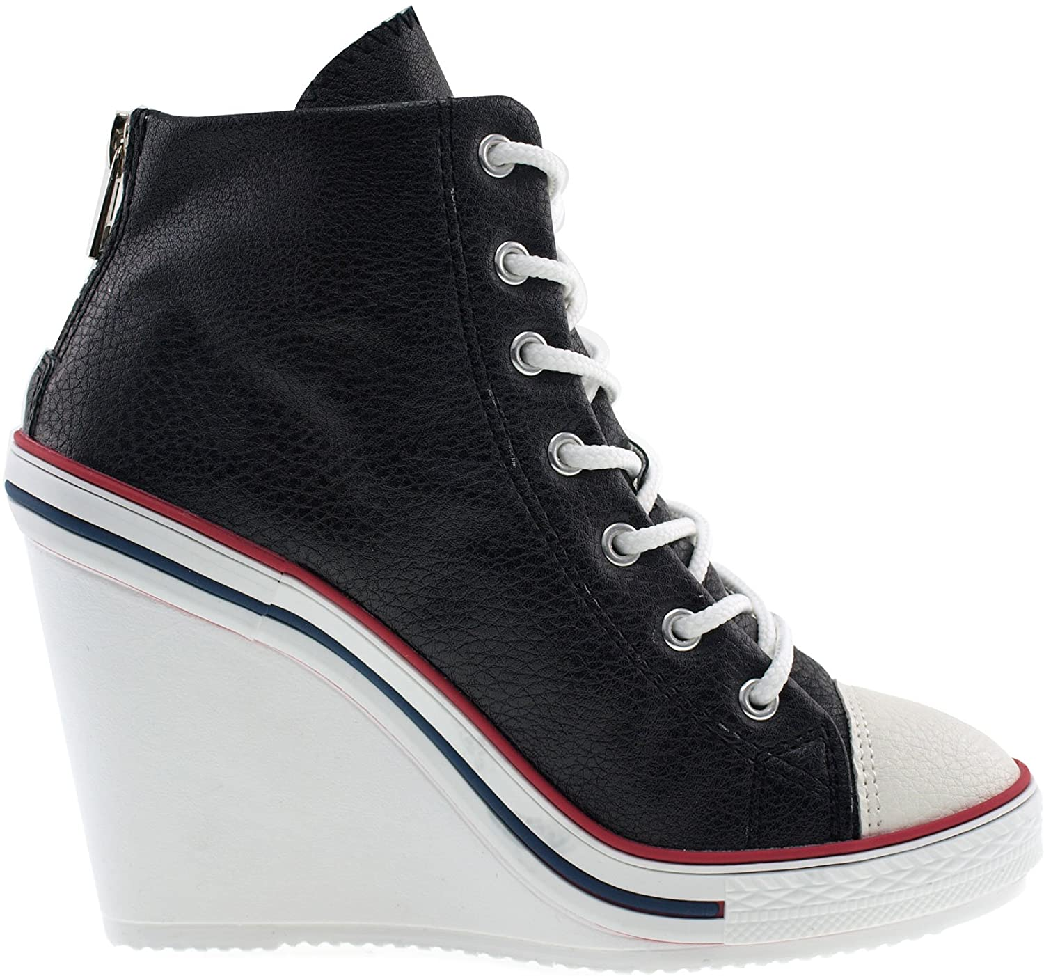 Amazon.com | Maxstar Women's 777 Back Zipper PU High Wedge Heel Sneakers |  Fashion Sneakers