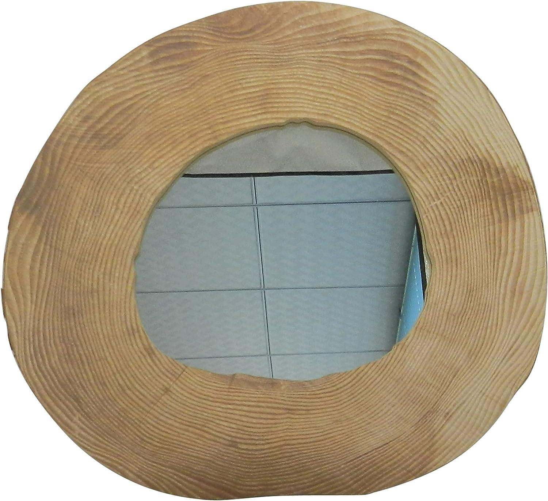 Country Vintage de madera espejo de pared para baños, dormitorios, Estilistas y decoración del hogar accesorios. Artificial Diseño de rodajas de madera. 31,1x29,8xD1,3 cm