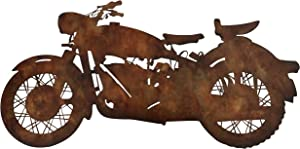 WHW Whole House Worlds Large Motorcycle Silhouette Wall Art Sculpture, Vintage Rust Finish, 32.0 W x 16.25 Inches, Home and Office Decor