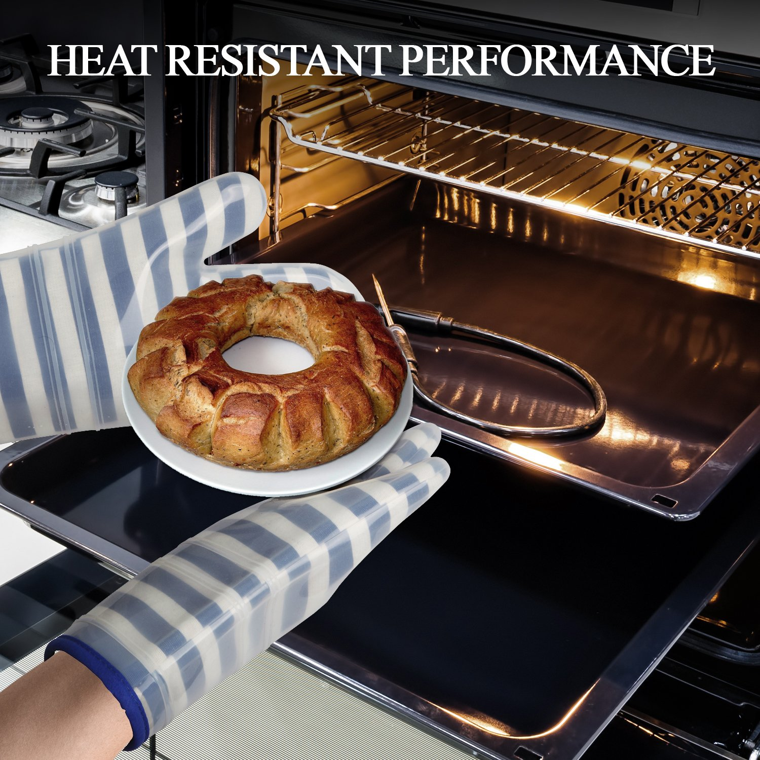 ANSMORE Oven Mitts, Heat Resistant to 572℉ and Waterproof, with Transparent Clear Silicone Shell and Nice Stripe Printing Cotton lining-Set of 2 (Blue) by ANSMORE (Image #4)