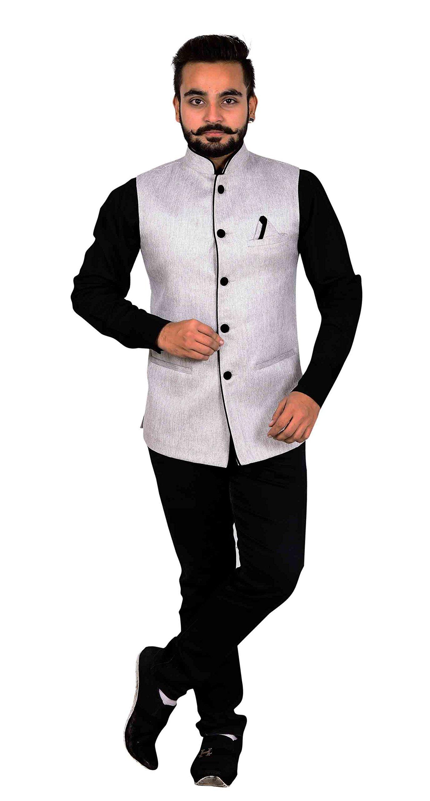 Men's Nehru Gandhi collar Waistcoat to match shalwar kameez Indian Bollywood theme & wedding party 1005 UK