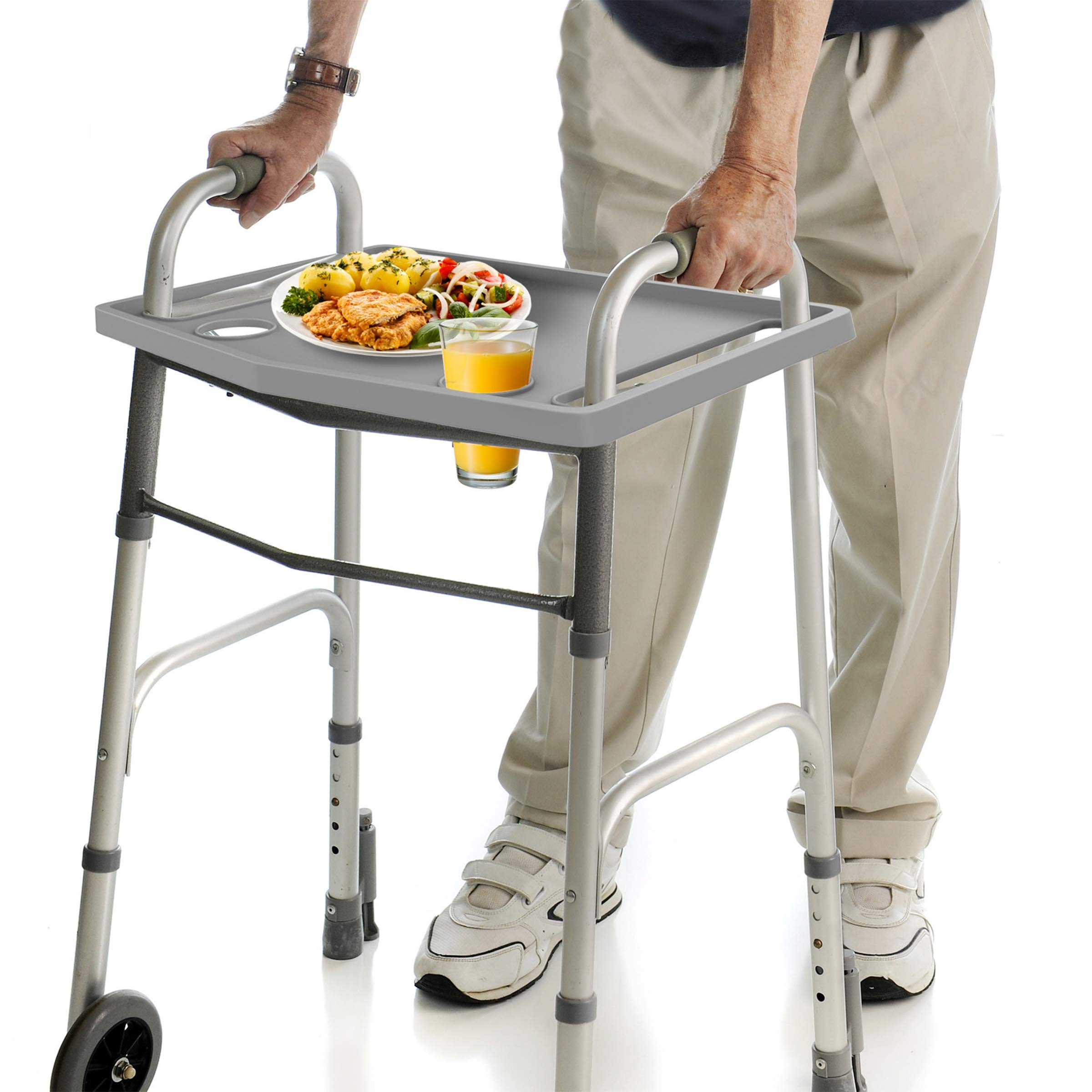 Bluestone Walker Tray- Upright with 2 Cup Holders-Universal Table Fits Most Standard Folding Walkers-Home Mobility Medical Equipment Accessories by Bluestone