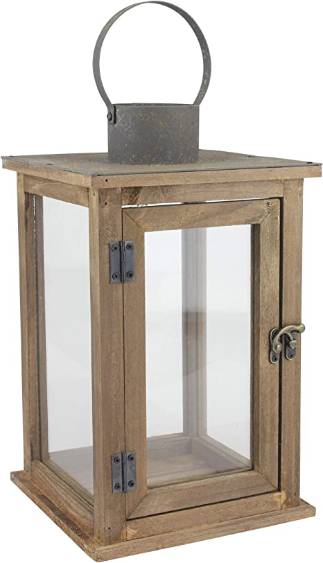 Amazon Com Stonebriar Sb 5174b Rustic 12 5 Wooden Candle Lantern Large Brown Home Kitchen