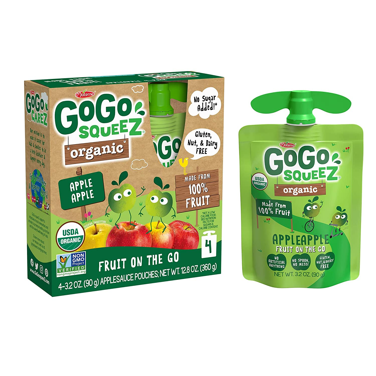 GoGo squeeZ Organic Applesauce on the Go, Apple Apple, 3.2 Ounce (48 Pouches), Gluten Free, Vegan Friendly, Unsweetened Applesauce, Recloseable, BPA Free Pouches (Packaging May Vary)