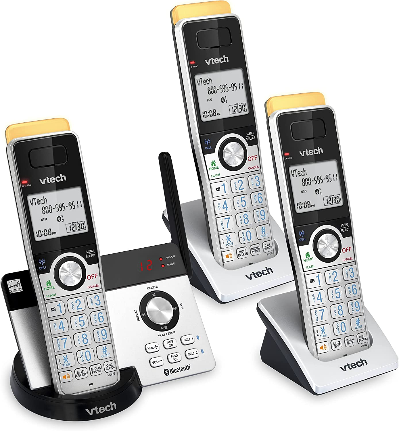 VTECH IS8121-3 Super Long Range up to 2300 Feet DECT 6.0 Bluetooth 3 Handset Cordless Phone for Home with Answering Machine, Call Blocking, Connect to Cell, Intercom and Expandable to 5 Handsets