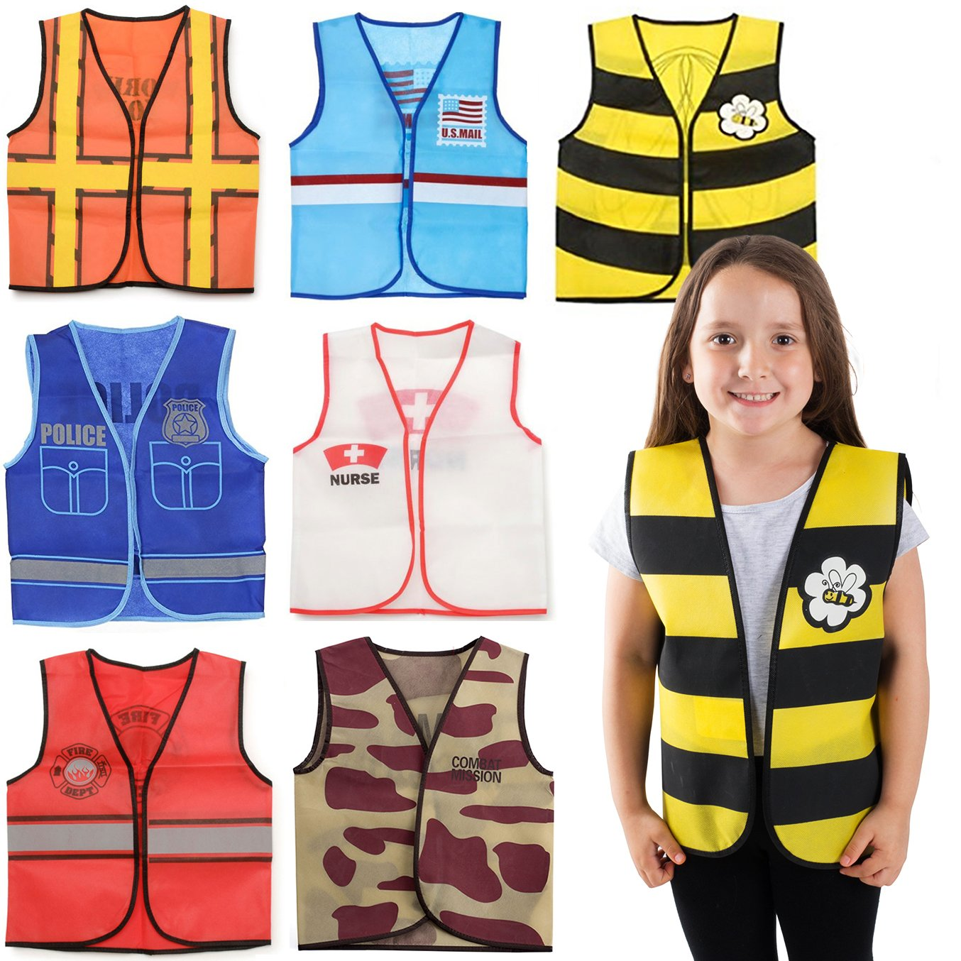 Dress up Clothes - 7 Pc Set - Costumes for Kids - Costume Vests Kids - Role Play Costume Sets by Tigerdeo