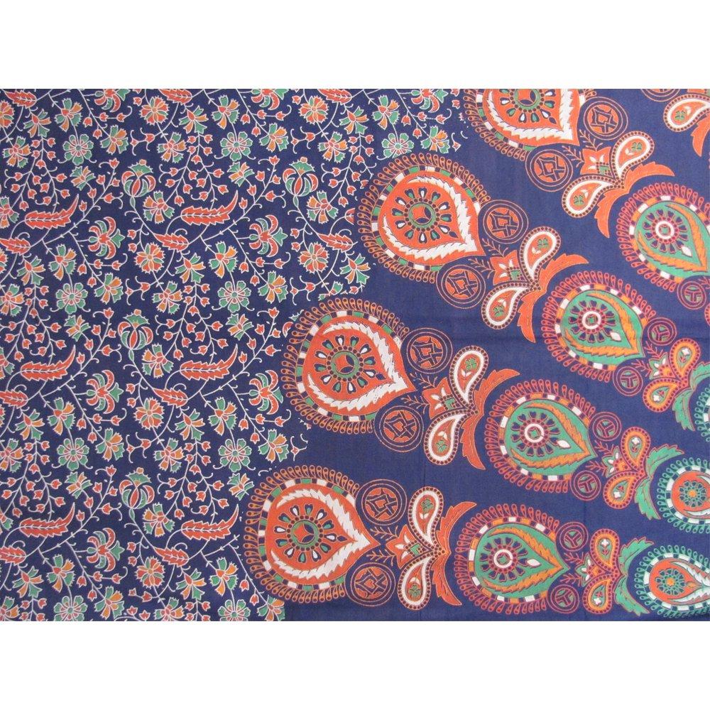 Bohemian Peacock Paisley Print Cotton Bedspread Bedding 3 Pcs Set King Size by Padma Craft (Image #7)