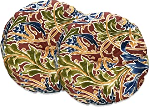 FBTS Prime Outdoor Pillows Set of 2 Red Paisley 18x18 Inch Circular Patio Cushions for Chair Patio Furniture