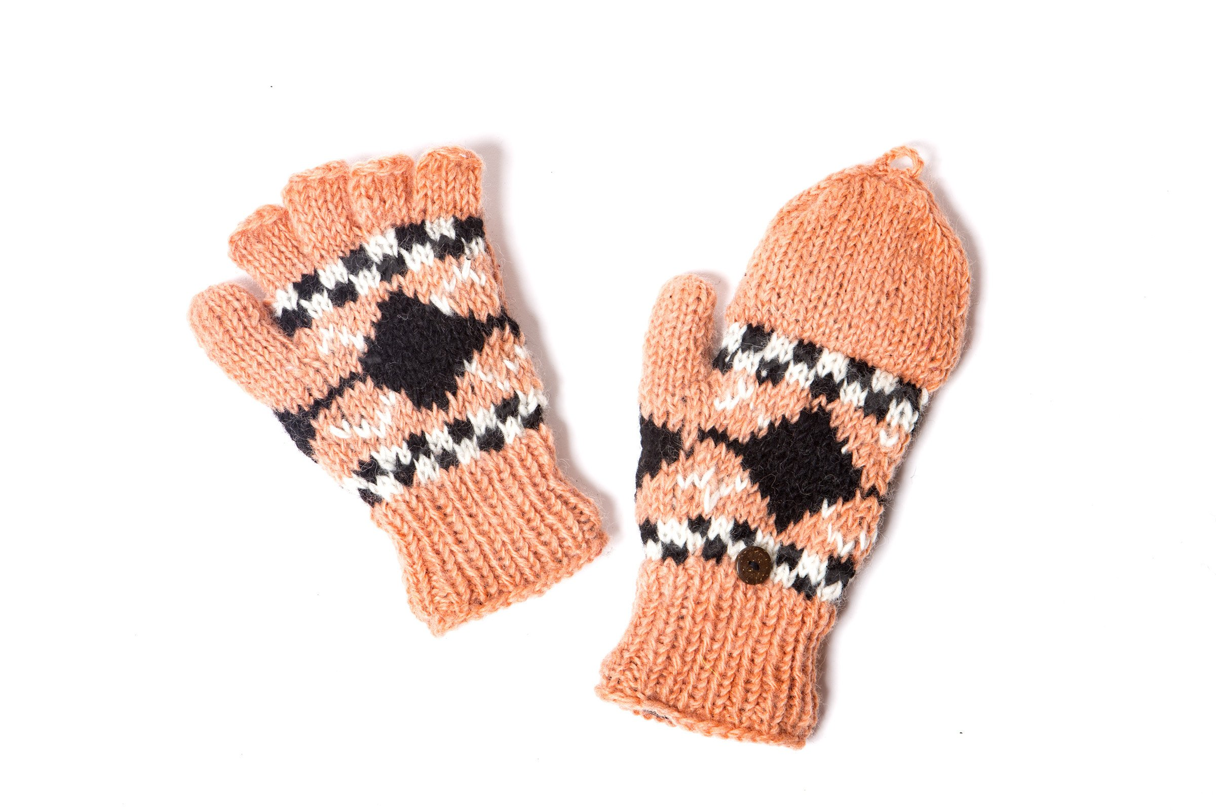 Nude/Black Hand Knit Wool Fleece Lined Hunter Fingerless Glove Mittens | Tibetan Socks