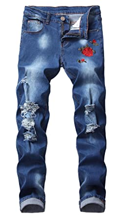 7caeb8202645 CLOTPUS Men s Slim Fit Ripped Stretch Jeans Destroyed Skinny Pants with  Holes Dark Blue W28