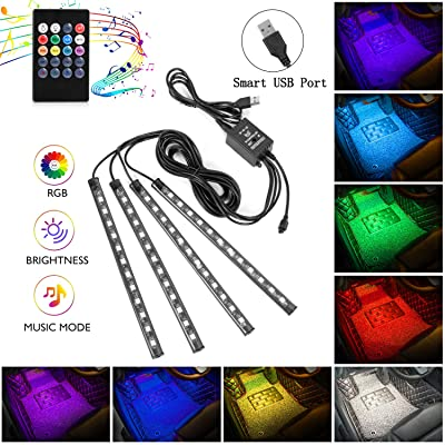 Interior Car Lights, 4pcs 48 USB Car LED Strip Lights, MultiColor Music LED Interior Light Under Dash Lighting Kit with Sound Active Function and Wireless Remote Controller, DC 5V: Automotive