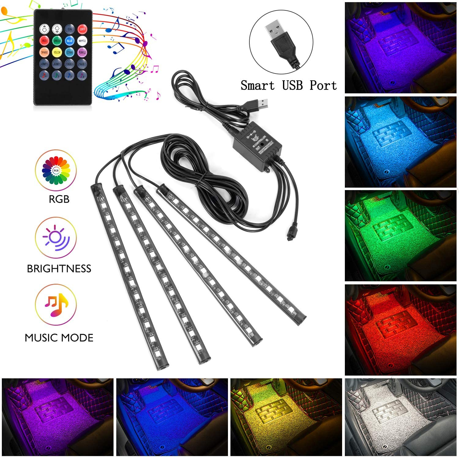 Interior Car Lights, 4pcs 48 USB Car LED Strip Lights, MultiColor Music LED Interior Light Under Dash Lighting Kit with Sound Active Function and Wireless Remote Controller, DC 5V