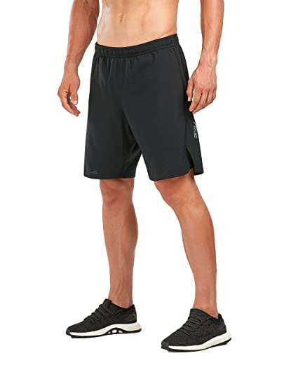 48d4954949b01 2XU Men's Training 2 in 1 Compression 9 Inch Shorts (Black/Silver, Small