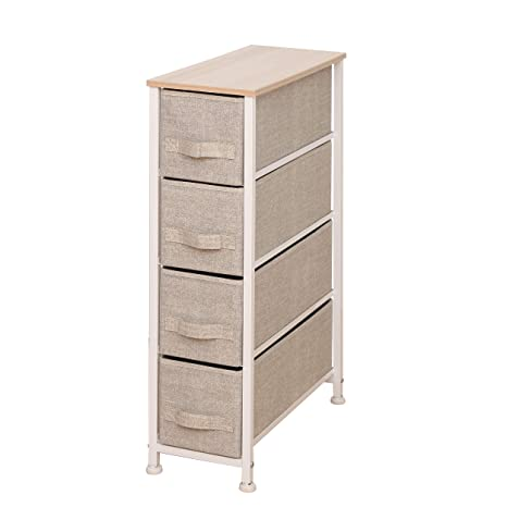 iTIDY Drawer Chest-4 Drawer Narrow Storage Chest,Dresser,Drawer Organizer Unit,Multi-Purpose Storage Cabinet with Removable Fabric Drawers,Beige