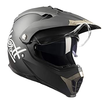 Westt® Cross · Casco de Moto Estilo Cross en Negro Mate con Doble Visera -