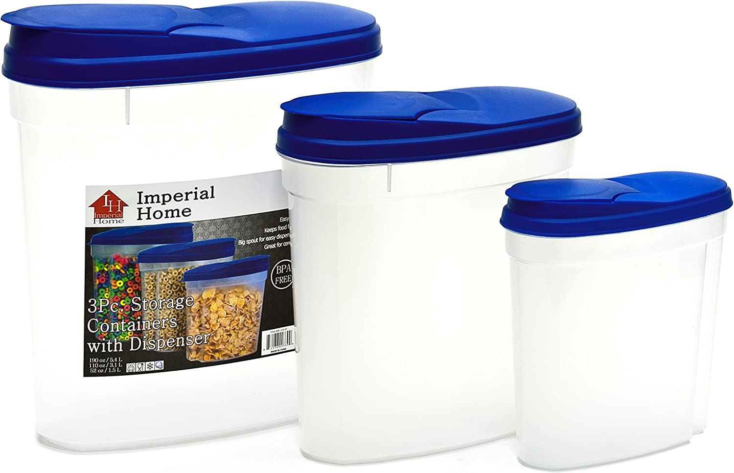 Plastic 3 Piece Cereal Dispenser Set - Dry Food Storage Containers (Blue Lids)