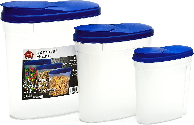Plastic 3 Piece Cereal Dispenser Set - Dry Food Storage Containers (Blue Lids)