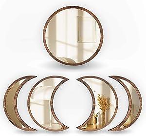 SHMITBERG Moon Phase Mirror Set -100% Real Glass, Wooden Frame. Scandinavian Boho Wall Decor for Bedroom and Living Room Wall, Scandinavian Moon Phase Mirror (Brown)