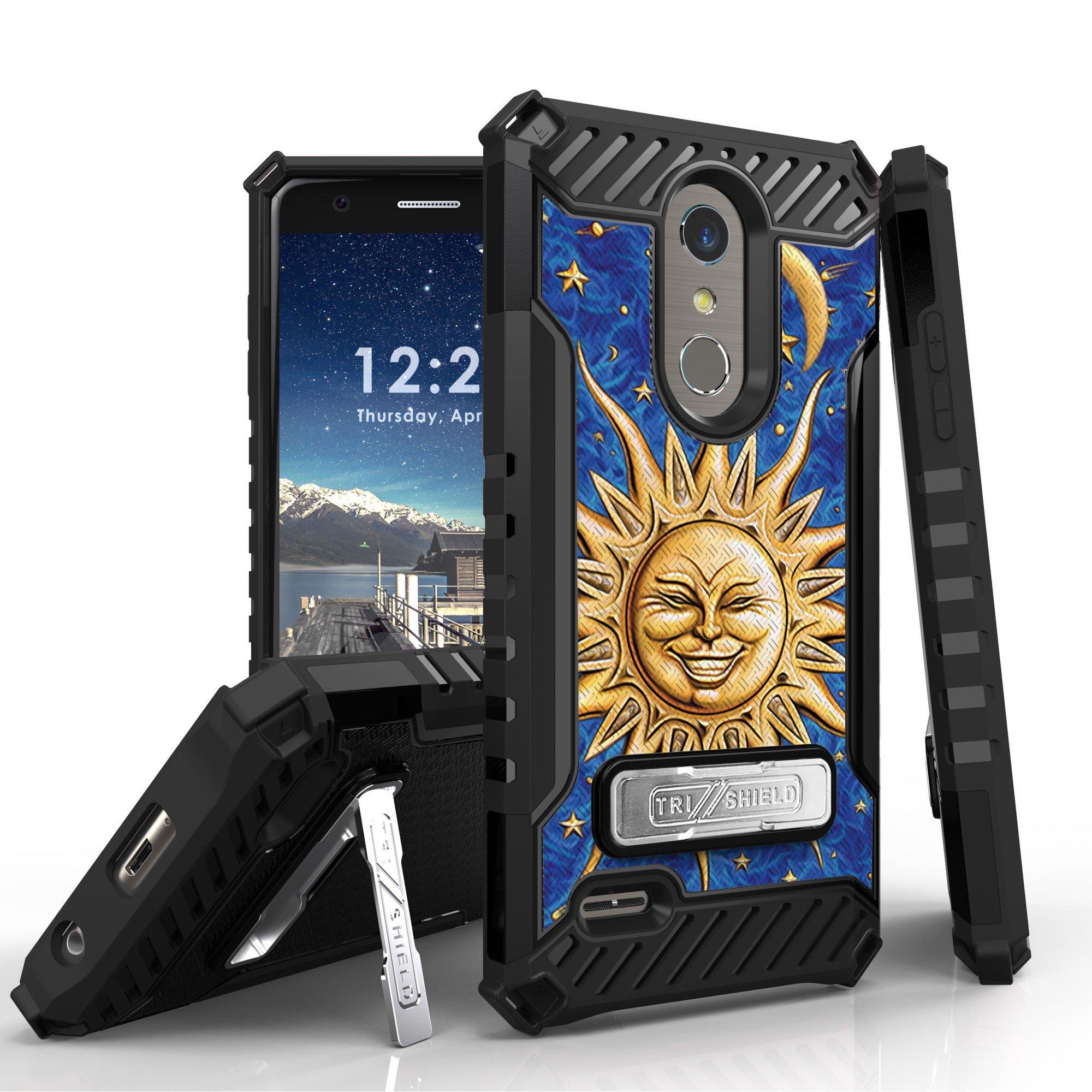 LG K30 Case/LG K10 (2018) Trishield Shockproof High Impact Rugged Armor Cover - Moon Stars Sun