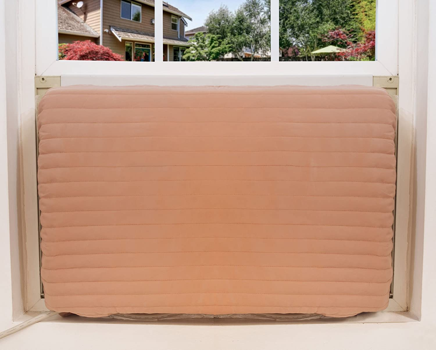 FreshAir Indoor Air Conditioner Cover – Quilted Beige Fabric Cover for Premium Home Insulation – Large Size to Fit Most - 18-20 H x 26-28 W x 2 D Mingfeng