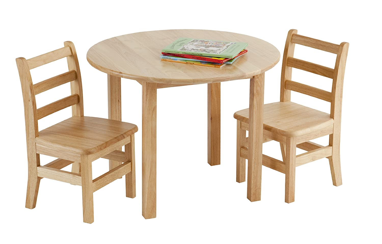 Ecr4kids 30 Round Natural Hardwood Table 18 Height With Two 12  # Table Pliante Style Brasserie