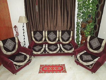ElegantHomes Easy Wash Cotton Sofa Cover Set - 5 Seater - Dark Coffee