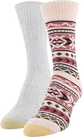 Gold Toe Women's Recycled Fair Isle Boot Crew Socks, 2 Pairs