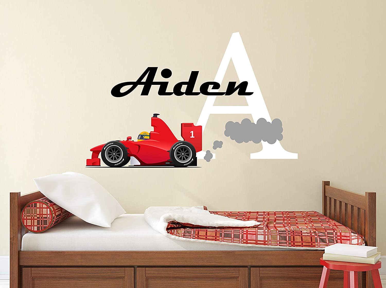 "Custom Racing Car Name Wall Decal - Racing Decor - Nursery Wall Decals - Baby Boy Room Mural Art Decor Vinyl Sticker (32""W x 20""H)"