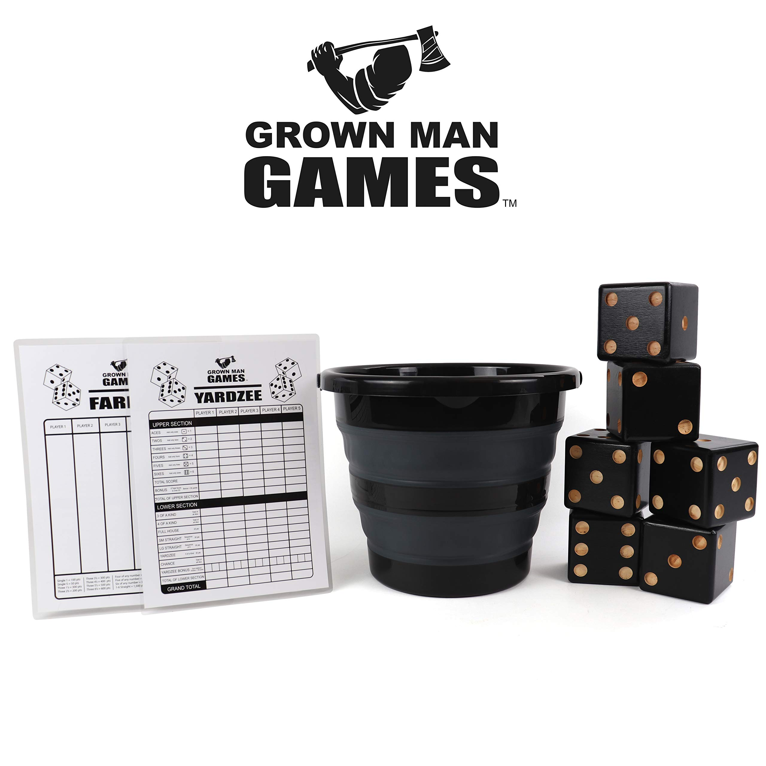 Grown Man Games Yard Dice - Yardzee - Yard Farkle/Yardkle - Large Lawn Dice - Giant Wooden Dice Lawn Game - Indoor/Outdoor Game for Kids and Adults by Grown Man Games
