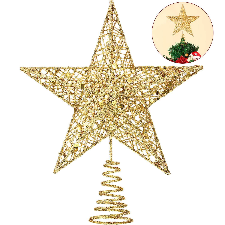 Argento Blulu 10 Pollici Stella Albero di Natale Topper Natale Albero Topper Stella di Natale Decorazione Glitterato Albero-Top Stelle